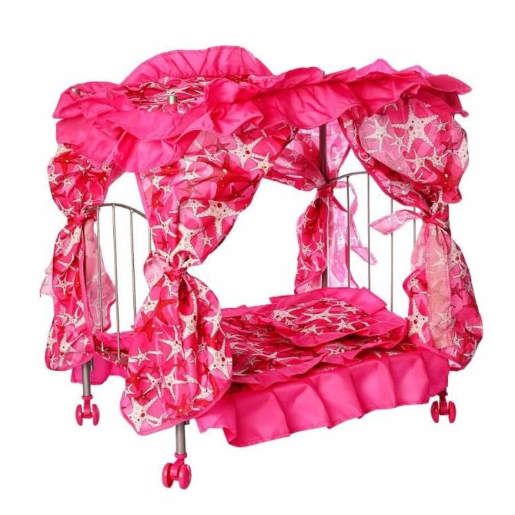 Кроватка для кукол Melogo 9350 металлическая с балдахином