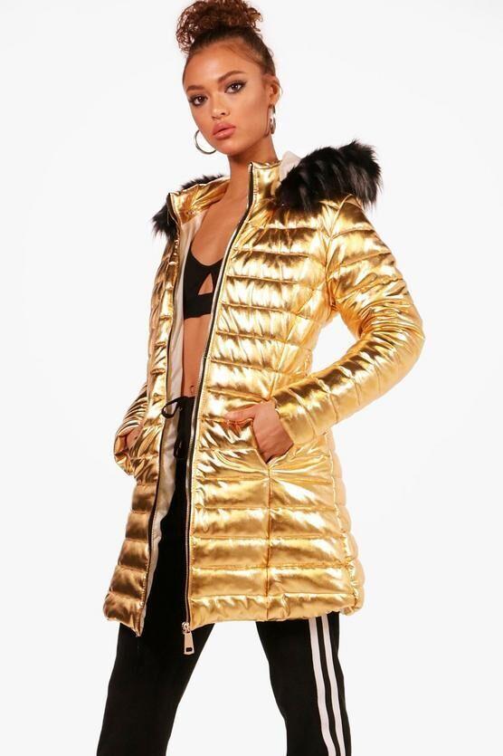 Модне золотисте пальто куртка boohoo РОЗПРОДАЖ