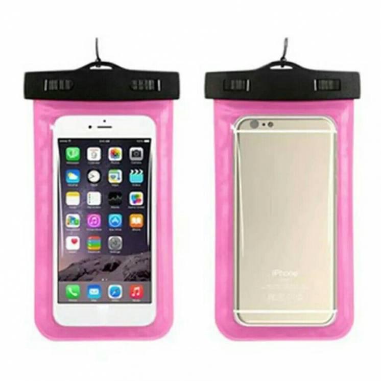 Универсальный водонепроницаемый чехол для телефона герметичный розовый
