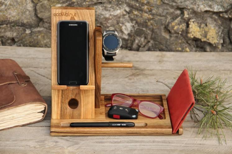Деревянный органайзер из дерева для телефона часов кошелька Самсунг
