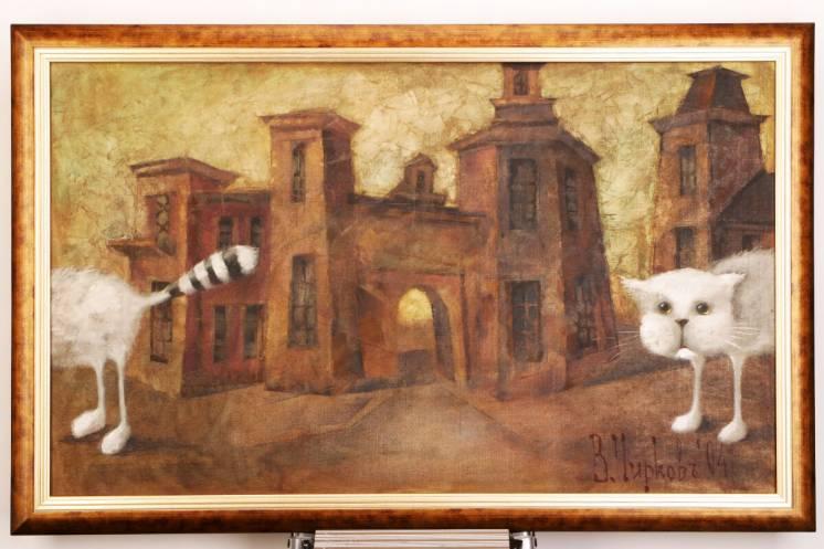 В Чирков украинский художник картина Кот 2004 г масло холст живопись