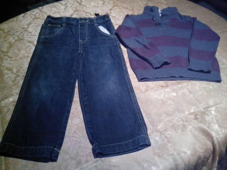 Джинсы, брюки, штаны, свитер, 4-5 лет, пакет