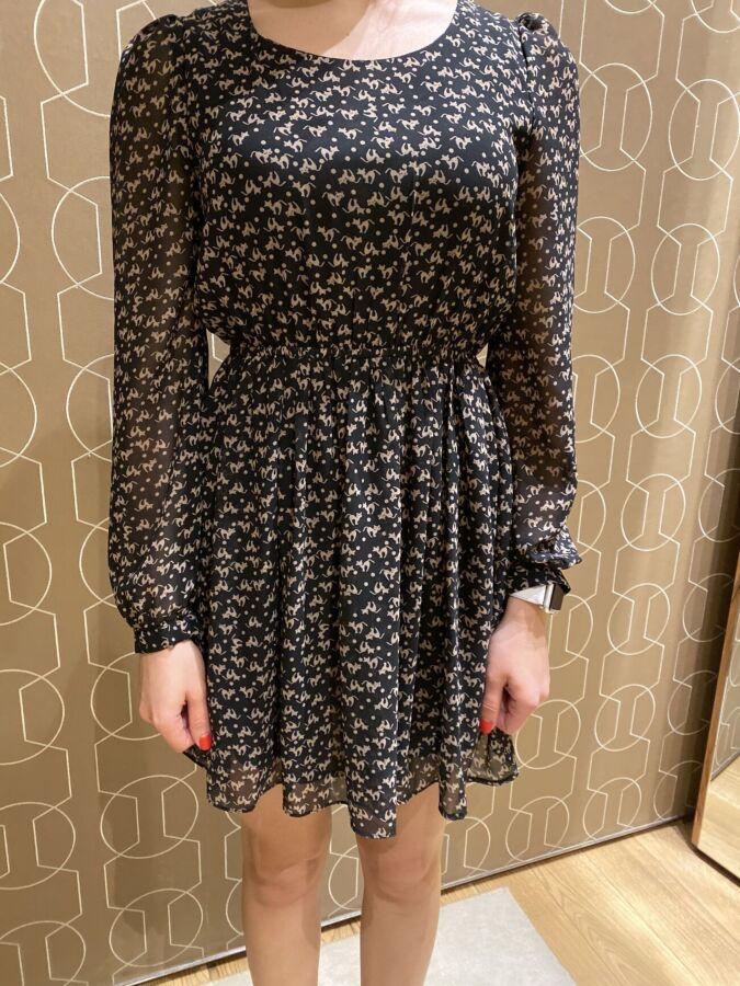 Шифоновое платье-туника с котиками S