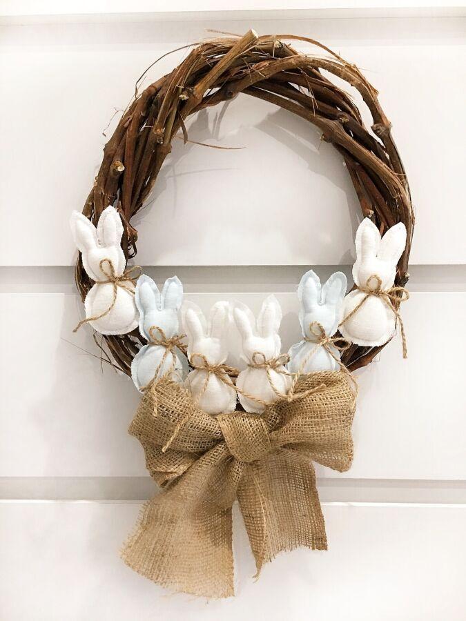 Пасхальный декор венок весенний Великодній вінок подарок заяц корзина