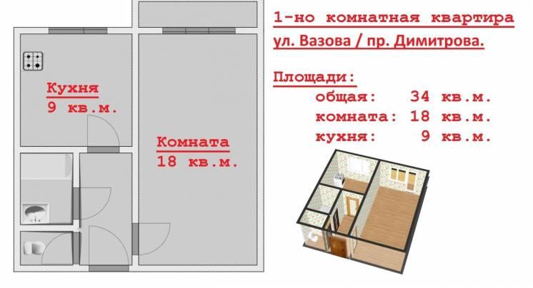 1-но комнатная. пр. Димитрова / Вазова.