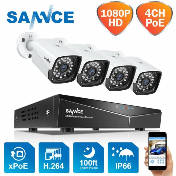 SANNCE XPoE комплект камер 2MP відеонагляду із США