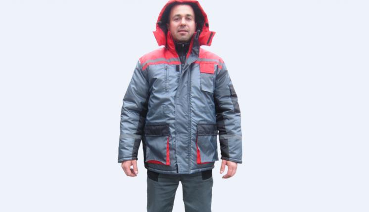 Курточка утепленная рабочая серая с красной отделкой