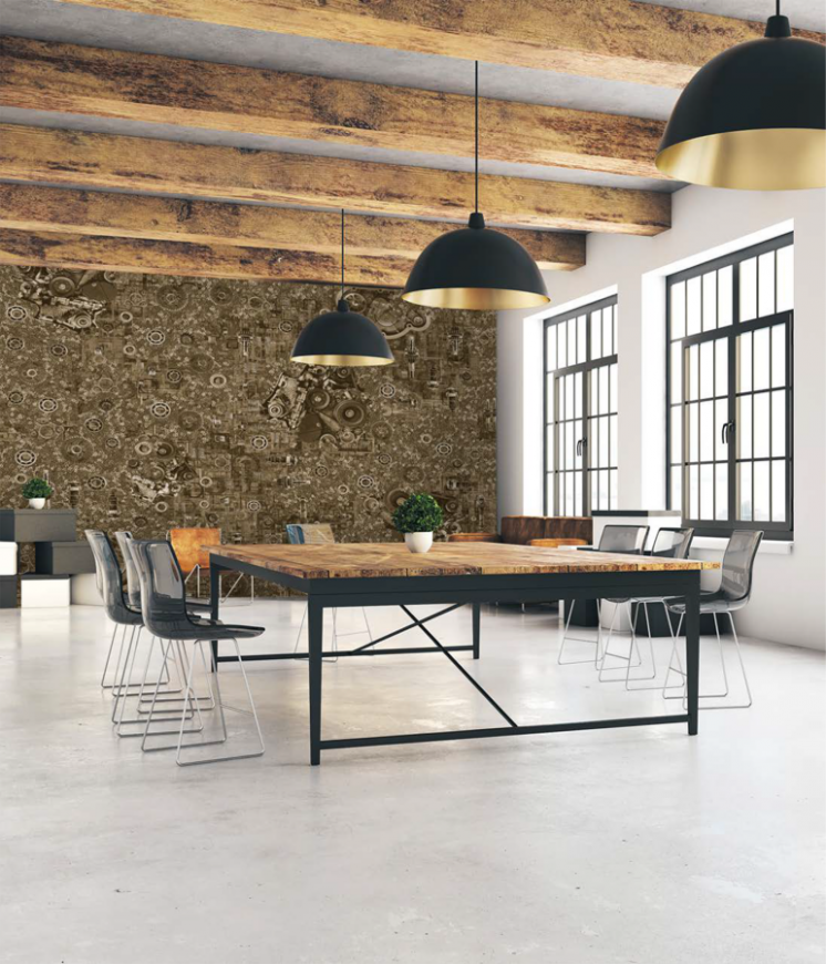 Дизайнерское панно для коворкинга Industrial в стиле Лофт 155 см х 250