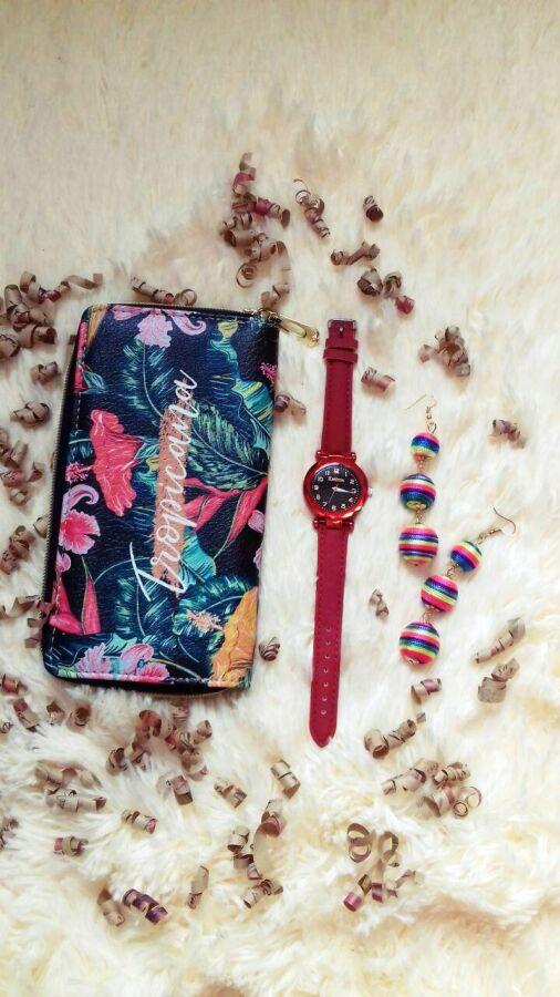 Подарочный набор готовый подарок девушке кошелек тропики, часы космос