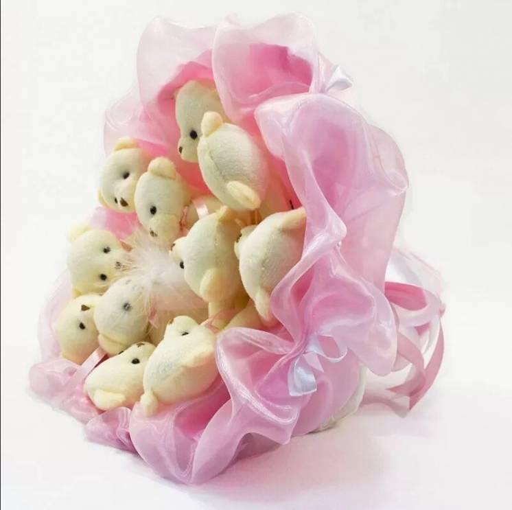 Букет из игрушек Мишки 11 нежно-розовый