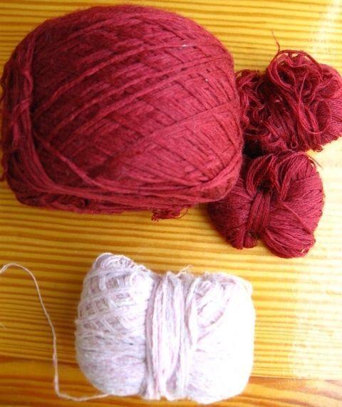 Пряжа нитки для вязания, красные бордовые, с шерстью, 135 грамм, торг