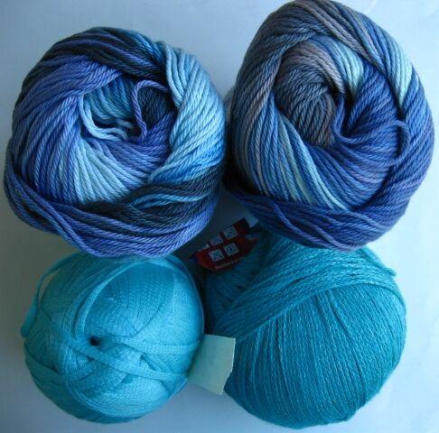 пряжа нитки Alize бахар бамбук меланж синий голубой, 2 вида, торг