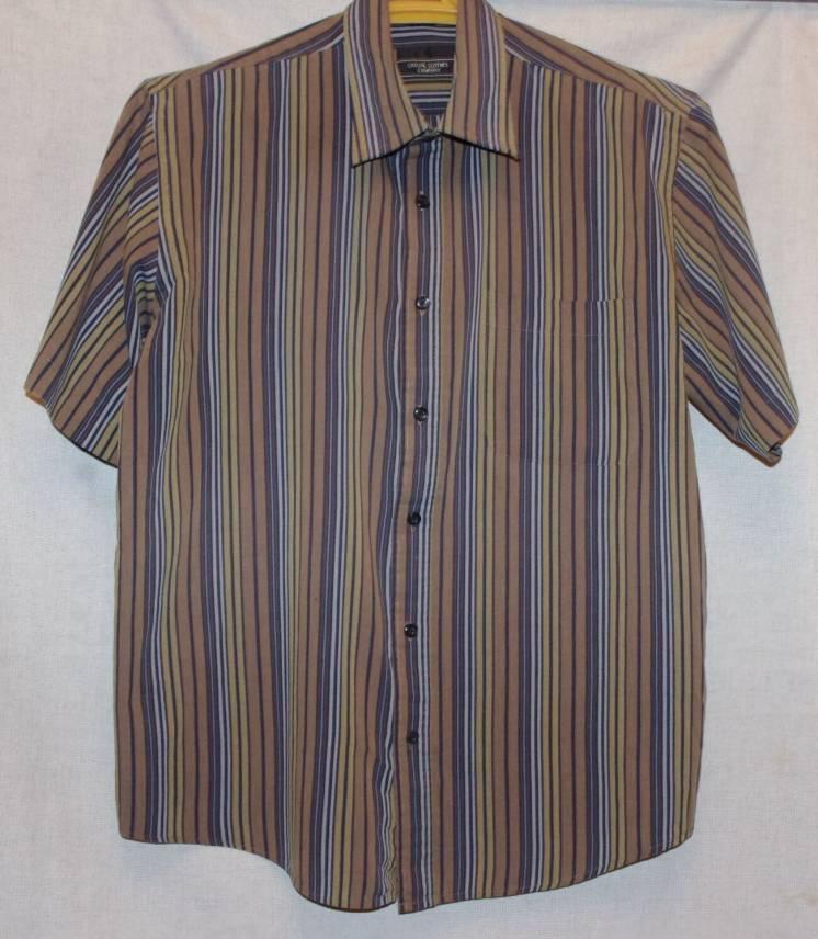 Рубашка Летняя Из 100 % Хлопка Цвета Хаки В Цветную Полоску 52 Размер