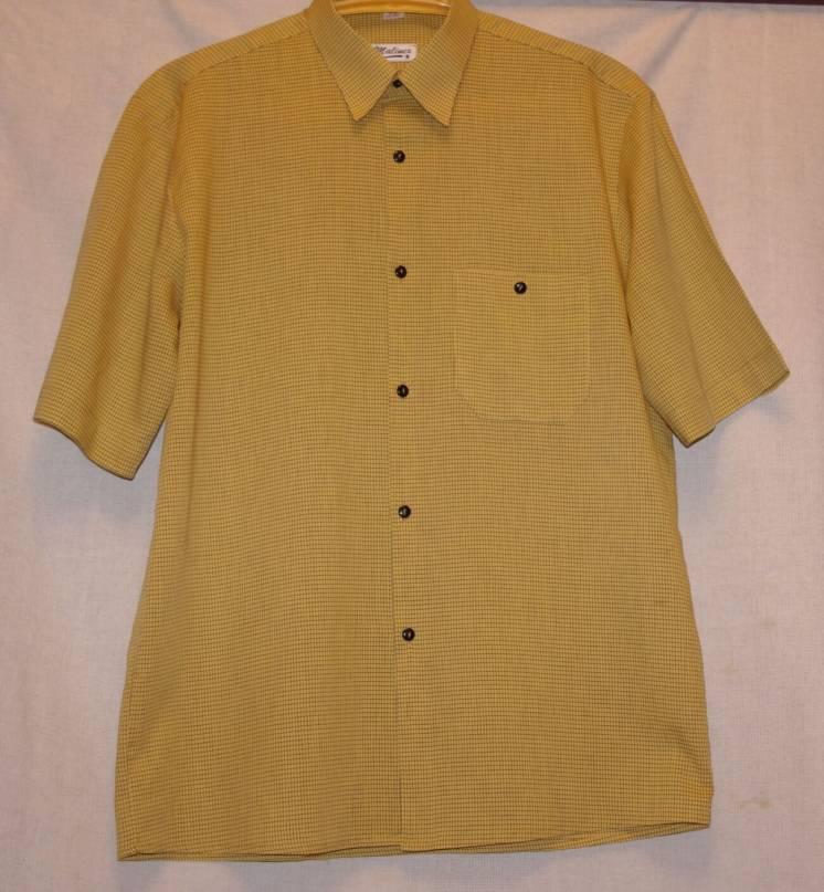 Рубашка Malinex Летняя Легкая Желтого Цвета В Клетку 52 Размер