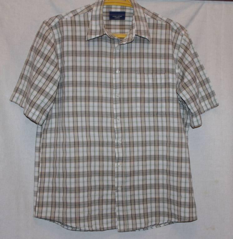 Рубашка Летняя 100% Хлопок Бежевого Цвета В Клетку 50 Размер