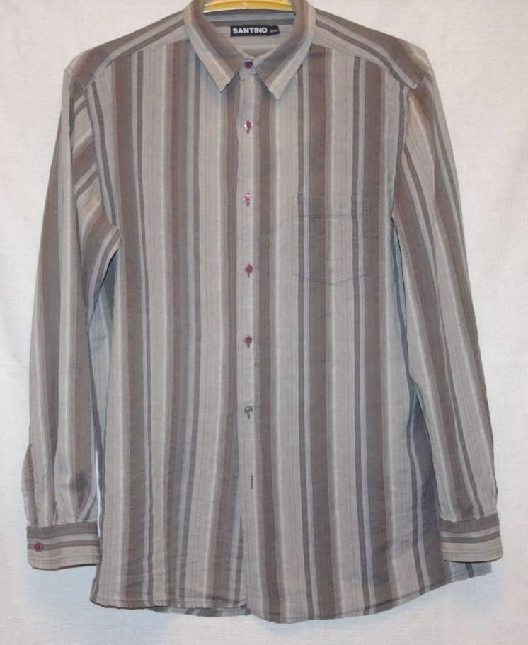 Рубашка Santino Цвета Хаки В Полоску С Длинными Рукавами 52 Размер