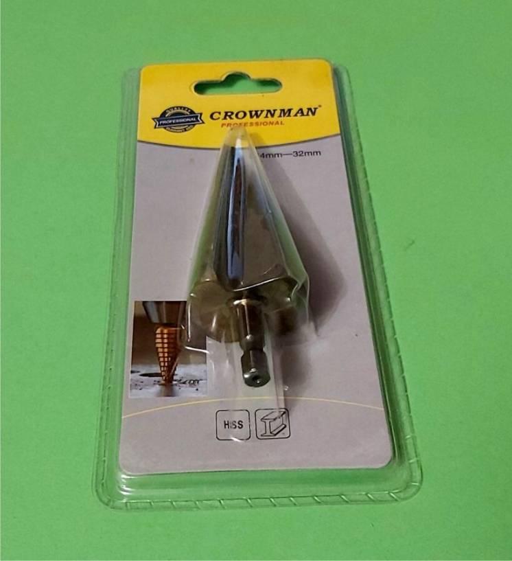 Сверло ступенчатое, коническое, 4 - 32 мм по стали, Crownman