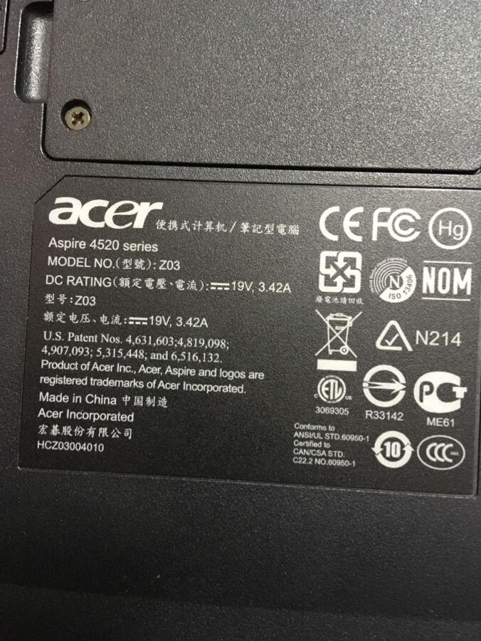 Acer Aspire 4520 под восстановление или на запчасти