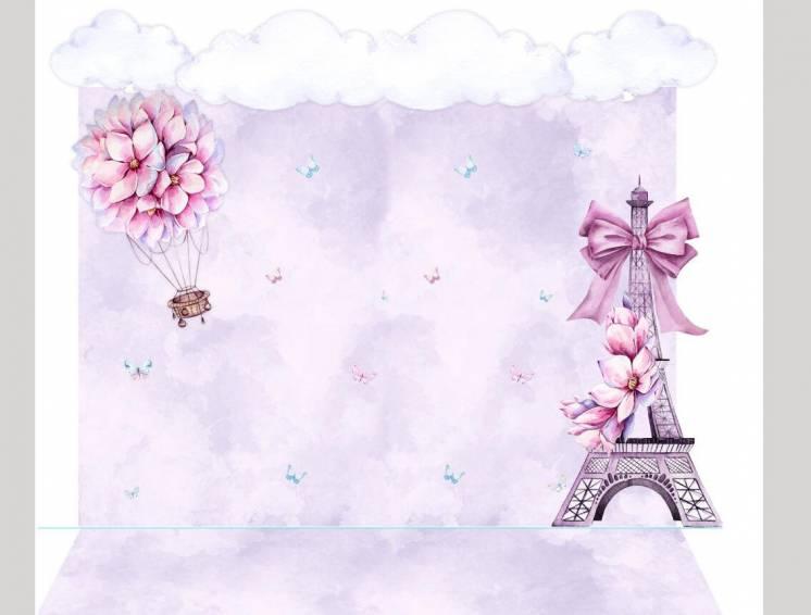 Фотозона на день рождения девочки Воздушный шар над Парижем