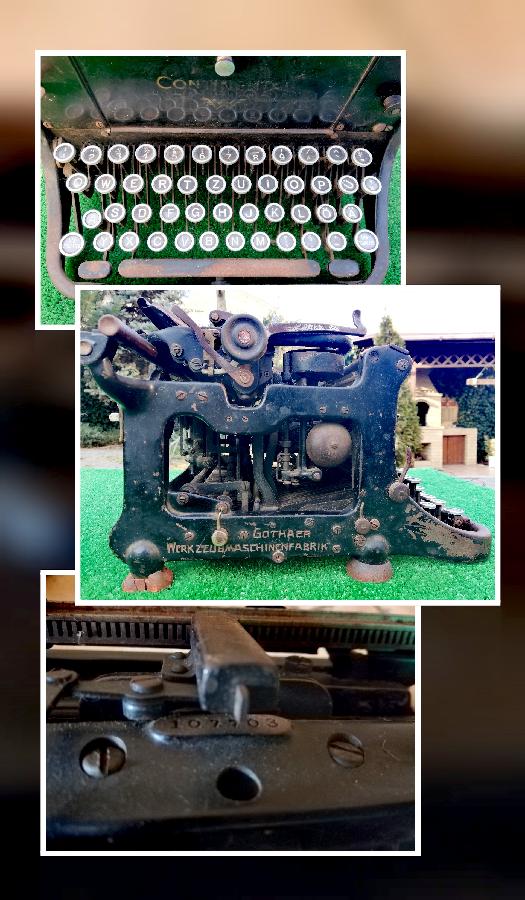 """Антикварная печатная машинка """"Continental"""".  Сделана в Германии."""