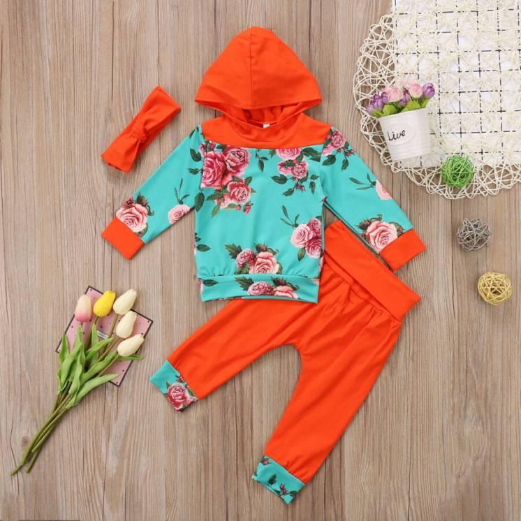 Костюм для девочки Цветочный принт Оранжевый Комплект Новорожденная