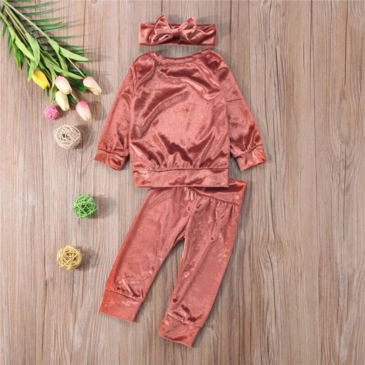 Детский костюм Бархатный для Новорожденной девочки Модна тройка Тренд