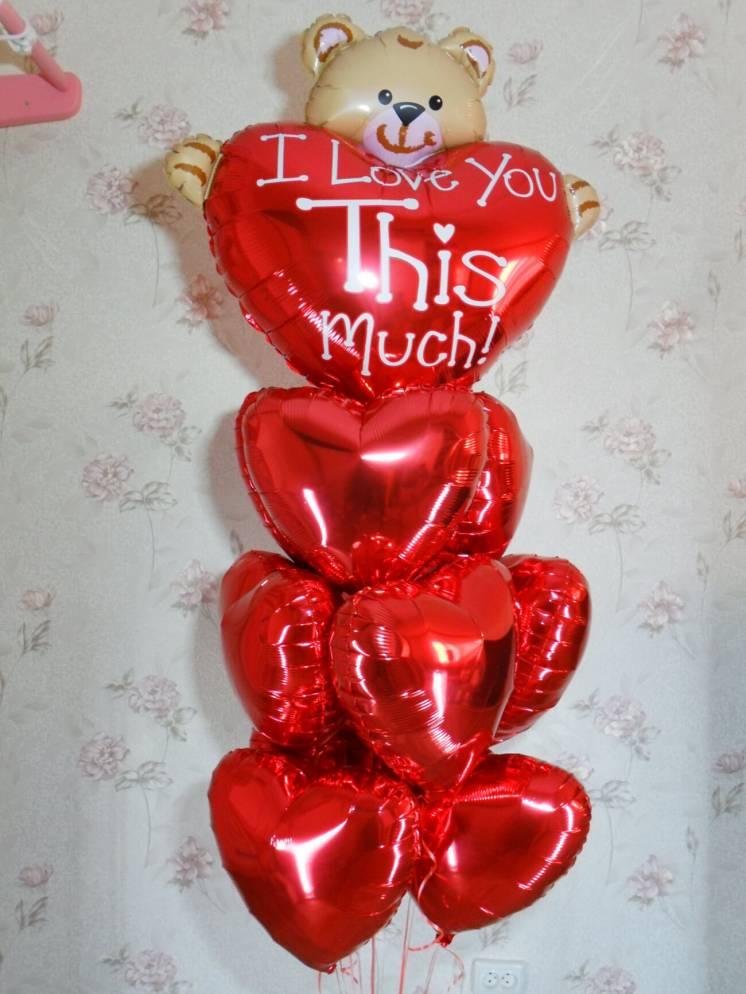 Гелиевые шарики Мишка Сердце Фольга