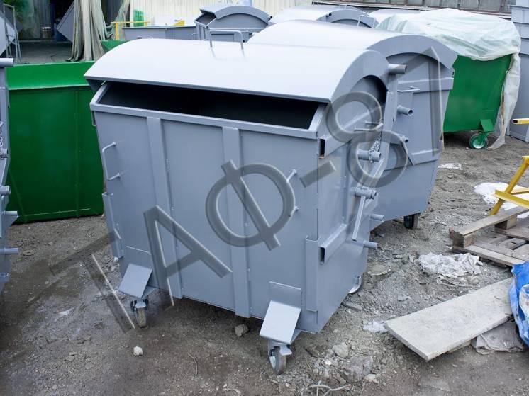 Мусорный бак, евроконтейнер объемом 1.1 м3 с крышкой и ст. 1.2 мм