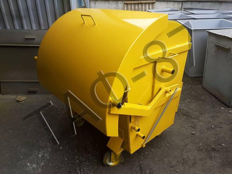 Мусорный бак, евроконтейнер для ТБО 1.1 м3 с крышкой и ст. 2.0 мм