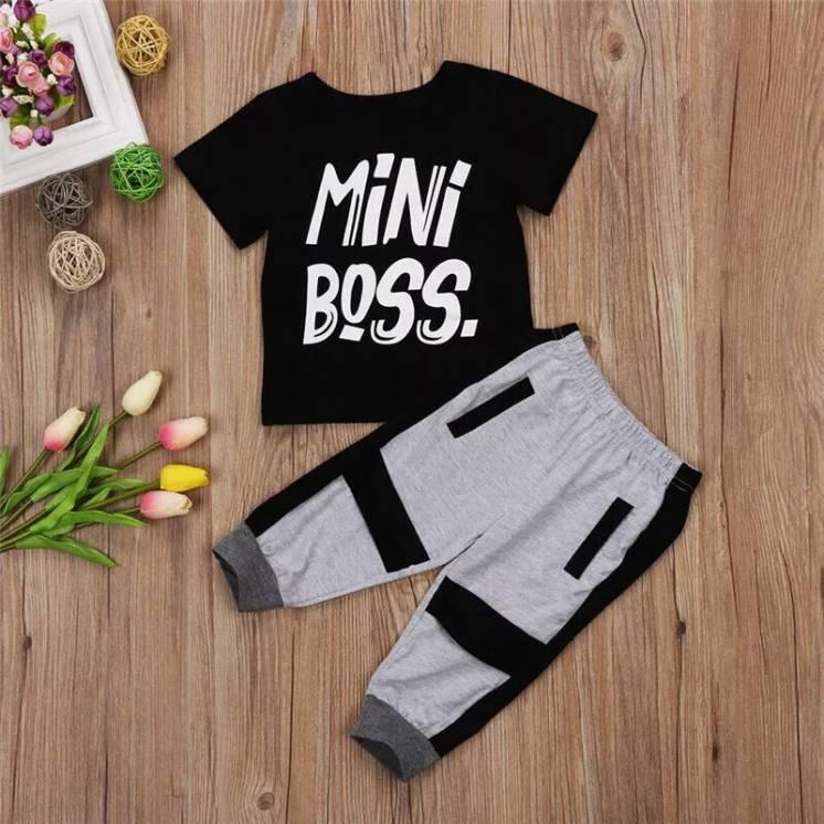 Комплект Детский Mini Boss Футболка   Штаны Одежда маленьких мальчиков