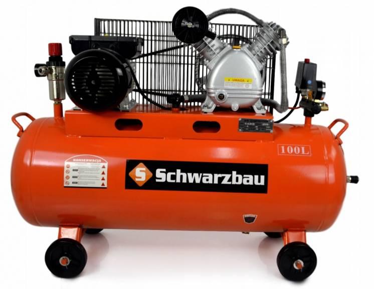 Компрессор поршневый Schwarzbau 100 литров чугунный блок гарантия год