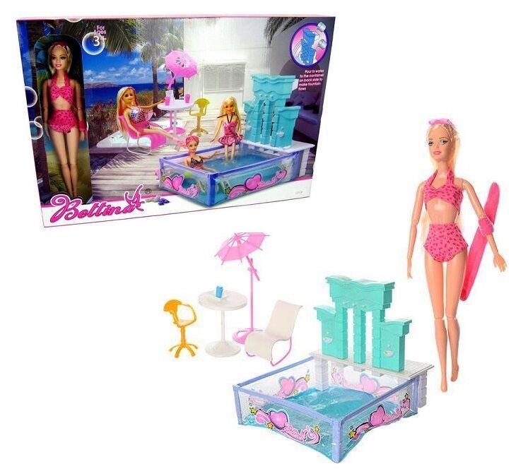 Мебель 66867 (24шт/2) бассейн, с куклой, фонтан(можно исп.воду),стол,с