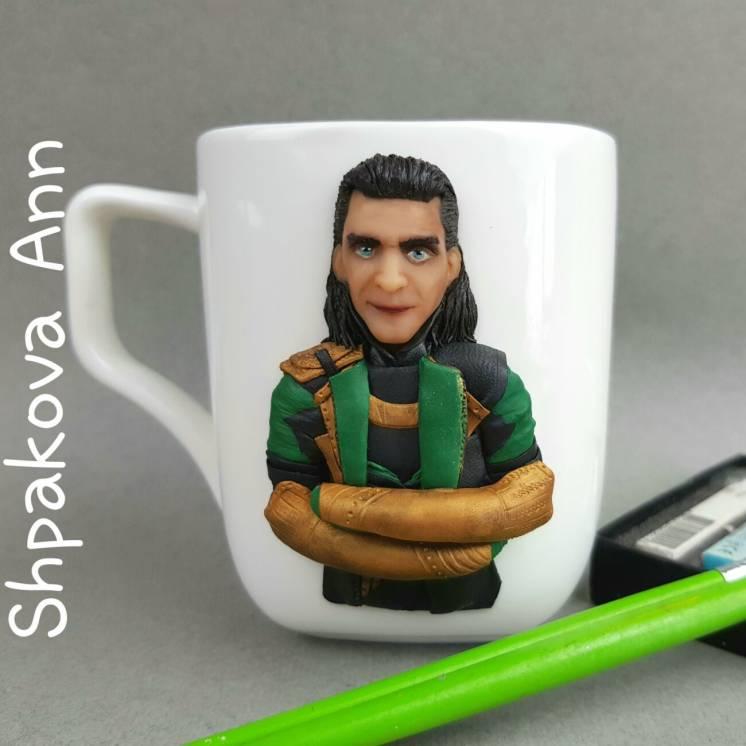 Чашка с декором Локи из Мстителей MARVEL кружка подарок ручной работы