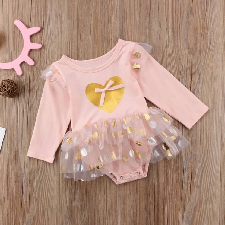 Детское Платье -Боди для девочки Стильная Одежда для Малышей