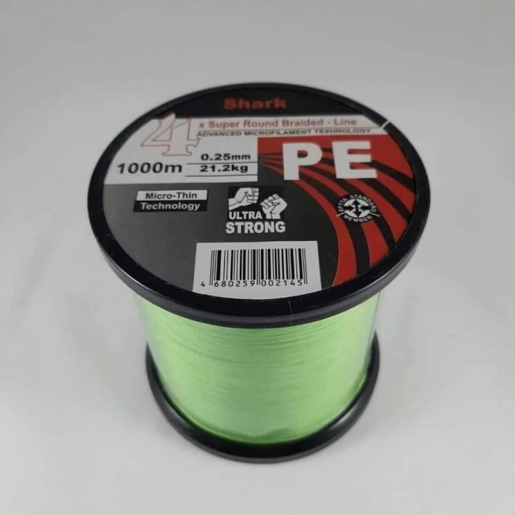 Шнур рыболовный нить для рыбалки 1000 м 0.25 мм зеленый