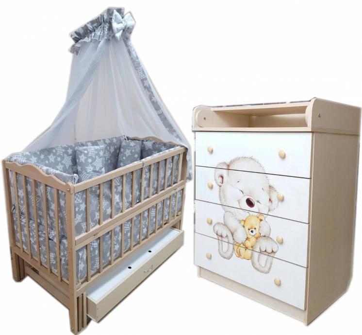 Акция! Комплект мебели: комод, кроватка маятник, матрас кокос, постель