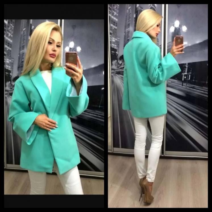 Пальто пиджак демисезонное бирюзового цвета
