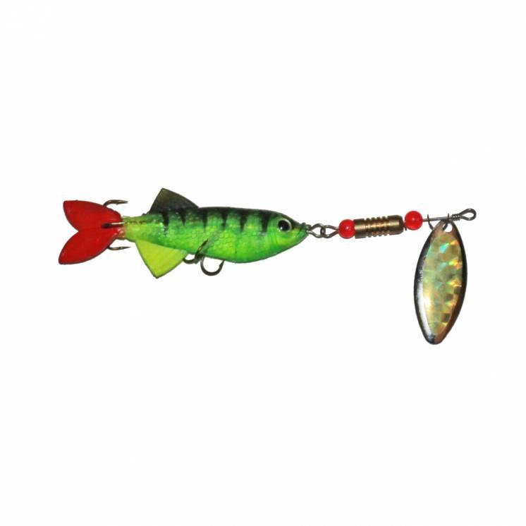 Обертова блешня з силіконовою рибкою Cobra Green