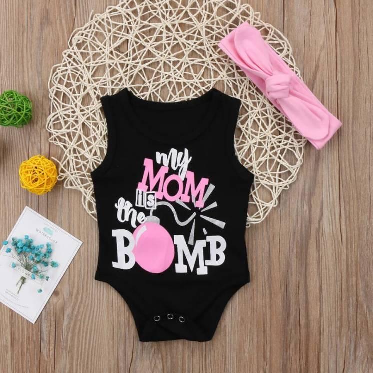 Детский Боди с повязкой для девочки Одежда для новорождённых от 0-24