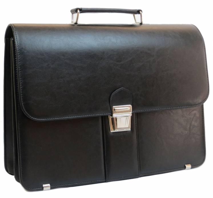Деловой портфель из эко кожи AMO Польша SST08 черный