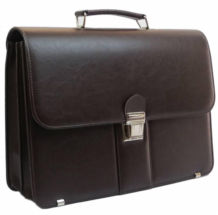 Мужской портфель из эко кожи AMO Польша SST08 коричневый