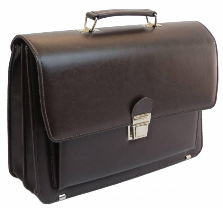 Большой деловой портфель из эко кожи AMO SST09 коричневый