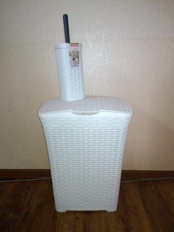 набор для ванной корзина для белья и ёрш для унитаза Плетёнка