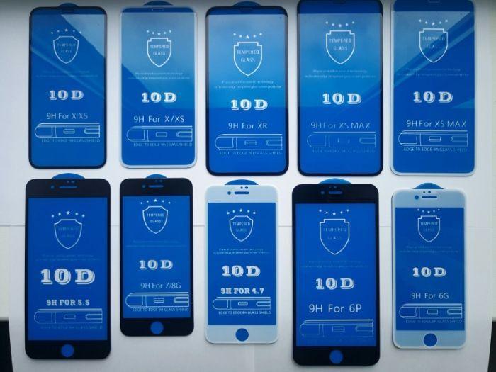 Защитное стекло 10D,5D,2D iPhone 4 5 SE 6 7 8+ XS XR Max 11 Plus