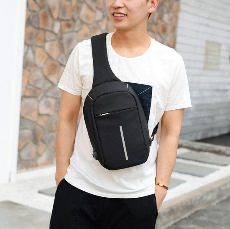 Рюкзак мужской однолямочный Bobby Mini с USB сумка через плечо черный