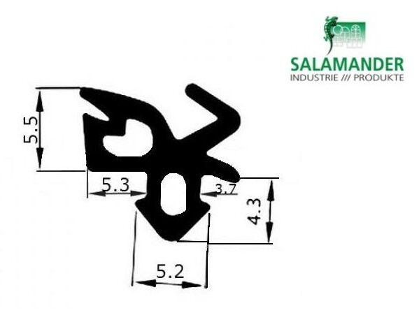 Уплотнитель для окон Salamander под стекло, чёрный.