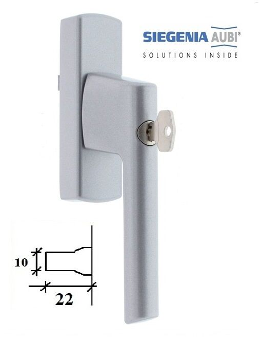 Ручка для алюминиевого окна SI-Line с ключом, серебро.