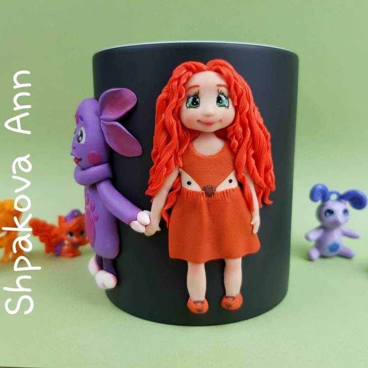 Чашка с декором именем Лунтик кружка хамелеон подарок дочке хенд мейд