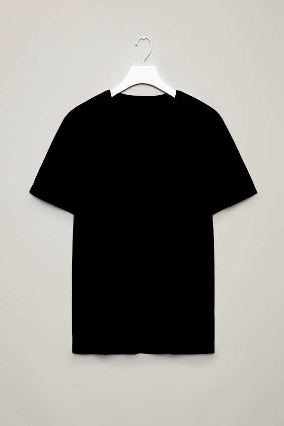 Базовая черная женская футболка под принт рисунок