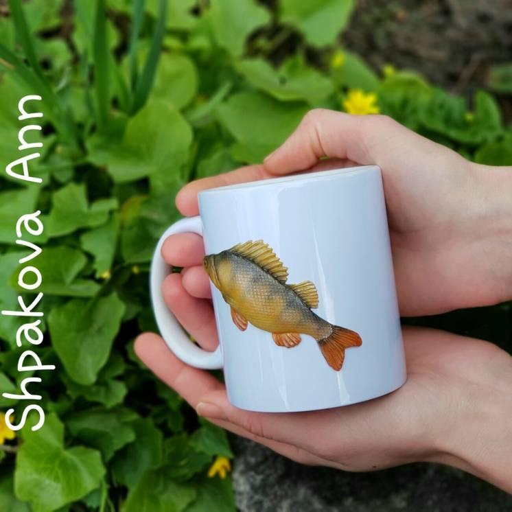 Чашка с Окунем ручной работы - отличный подарок мужчине рыбаку
